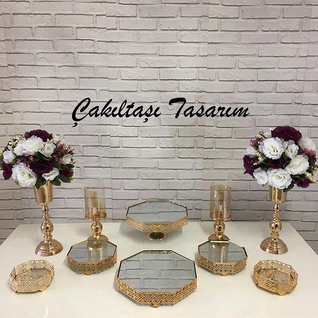 elis evde nişan organizasyonu - gold renk nişan masası süsleme malzemeleri (2)