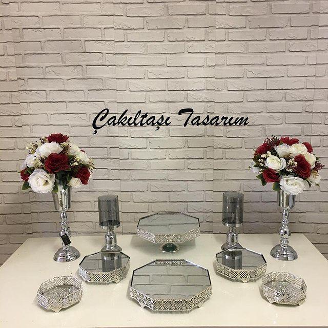 elis gümüş renk nişan masası süsleme malzemeleri - evde nişan organizasyonu (3)